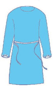 Polyethylene BLUE Economy Barrier Gown Pull Over Design with Waist Ties (75 per case), One Size