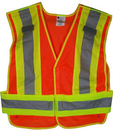 ANSI 207-2006 Public Service Safety Vests MESH Orange with Lime/Silver Stripes 5 point Velcro® Tear-Away Size 3x-4x