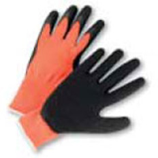 Seamless Conforming Glove with Black Palm - Orange- (sold by the dozen)