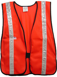Soft Mesh Red Vests with Silver Stripes