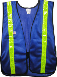 Soft Mesh Royal Blue Vests with 1.5 Lime Stripes