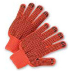 String Knit Gloves with Black Dots on Both Sides - Orange- (sold by the dozen)