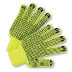String Knit Gloves with Black Dots on Both Siides - Lime- (sold by the dozen)