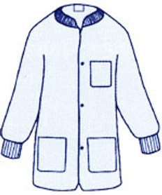 Sunlite Ultra Labcoat BLUE with 3 pockets, snap front, knit collar and cuffs (30 per pack)