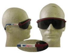 Uvex #S1179 Astro 3000 Safety Eyewear Red/White/Blue Frame w/ Smoke Lens