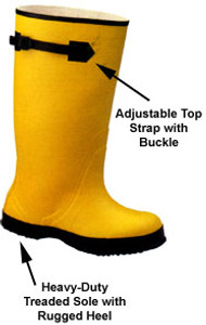Yellow Slush Boots with Black Buckle and Sole