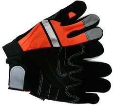 Hi-Vis Split DOUBLE PALM Cowhide Multi-task Glove with Velcro Closure, Orange (PAIR)