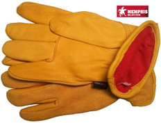 Deerskin Leather Palm Gloves with Fleece Lining and Split Leather Back (Pair)