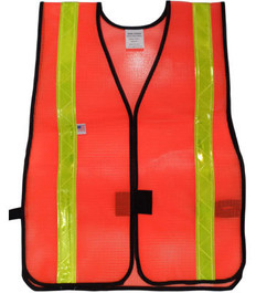Safety Vests  PVC  Coated  Orange (1.5 Inch Lime Stripes)