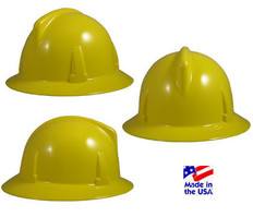 MSA # 475387 Topgard Protective Full Brim Hats with Fas-Trac Liners Yellow