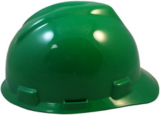 MSA # 463946 V-Gard Cap Style Safety Helmets with Staz-On Liners Green