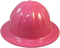 Aluminum Skull Bucket Full Brim Safety Helmets with Ratchet Liners – Pink