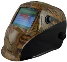 Auto Darkening Hydro Dipped Welding Helmet - Confederate Camo Design - Left Side Oblique View