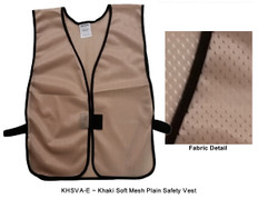 Safety Vest Plain Soft Mesh - Khaki