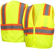 Pyramex  Hi-Vis Self Extinguishing Mesh  Class 2 Safety Vests -  Lime w/ Contrasting Stripes - RVZ2210SE