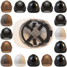 Pyramex Ridgeline Cap Style Safety Helmets with 6 Point RATCHET Liners - All Patterns