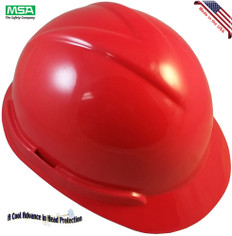 MSA Vangard II Helmet White with Ratchet Suspension Red - Right Oblique View