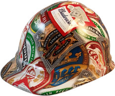 Beer Cans Cap Style Hydrographic Hard Hats - Oblique View