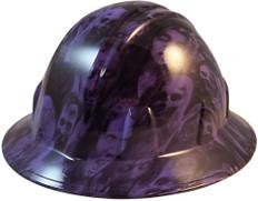 Hydrographic FULL BRIM Hard Hat-Ratchet Suspension - Purple Zombie  - Oblique View