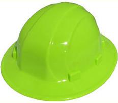ERB #19921 Omega II Full Brim Safety Helmets With Ratchet Liners - Hi Viz Lime