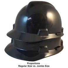 MSA # SO-400184080  Cap Style Large Jumbo Safety Helmets with Staz-On Pin Lock Suspension Black