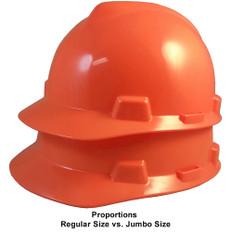 MSA # SO-486364 Cap Style Large Jumbo Safety Helmets with Staz-On Pin Lock Suspension Hi-Viz Orange
