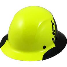 DAX Actual Carbon Fiber Shell Full Brim Hard Hat - Glossy Black and Hi-Viz Lime