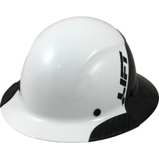 DAX Actual Carbon Fiber Shell Full Brim Hard Hat - Glossy Black and White