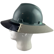 MSA Full Brim V-Guard Hard Hat with Sun Shield - Gray