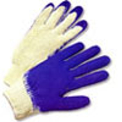 Cotton Knit Glove with Dipped Blue Rubber on one side (sold by the dozen)