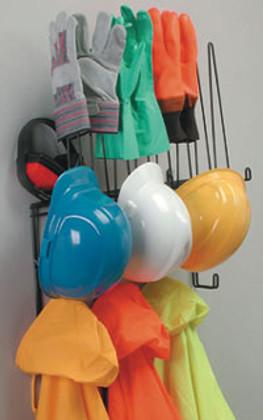 PPE Storage Rack, Holds 4 Hard Hats, 4pr. Gloves, 4 sets of rainwear, Shelf for hats or earmuffs