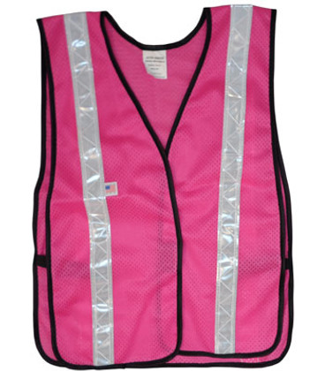 Soft Mesh Fuchsia Vests with Silver Stripes