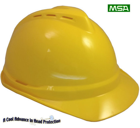 MSA 10034020 V-Gard 500 Vented Style Protective Cap with Fas Trac 4 Point Ratchet Suspension Yellow