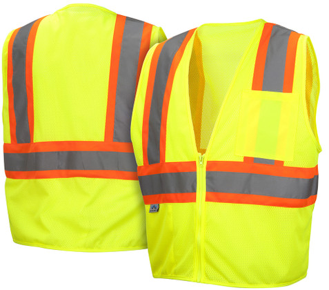 Pyramex  Hi-Vis Self Extinguishing Mesh  Class 2 Safety Vests -  Lime w/ Contrasting Stripes - RVZ2210SE