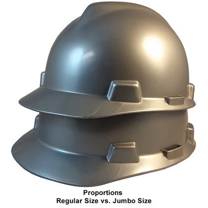 MSA # 486154 Cap Style Large Jumbo Safety Helmets with Fas-Trac Liners Silver