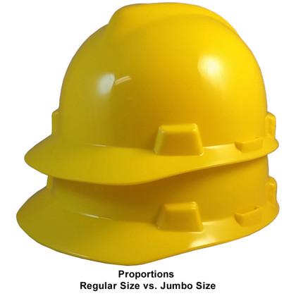 MSA # SO-477484 Cap Style Large Jumbo Safety Helmets with Staz-On Pin Lock Suspension Yellow