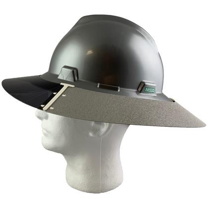 MSA Full Brim V-Guard Hard Hat with Sun Shield - Silver