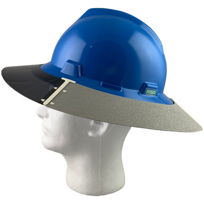 MSA Full Brim V-Guard Hard Hat with Sun Shield - Blue