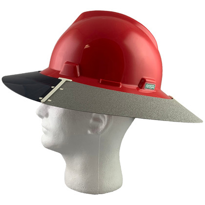 MSA Full Brim V-Guard Hard Hat with Sun Shield - Red