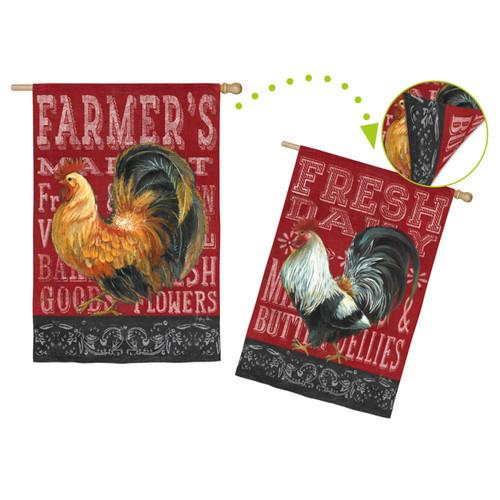 Regular Sub Sueded Blackboard Roosters Flag