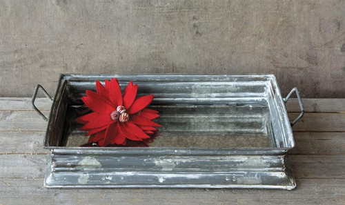 Distressed Metal Tray w/ Mirror Bottom