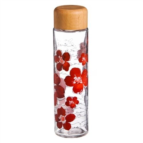 Glass Water Bottle, Floral Symphony, 20oz