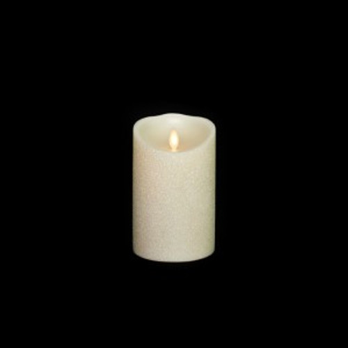 Glitter Pillar Moving Flame Battery Candle, 5""