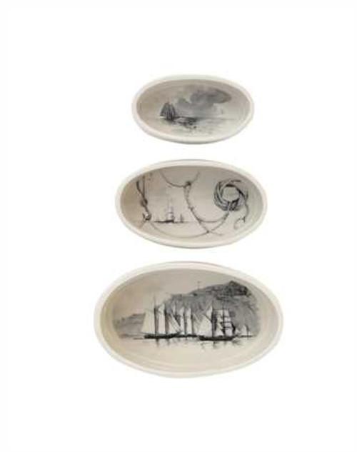 Stoneware Oval Ramekins w/ Vintage Ships, Set of 3