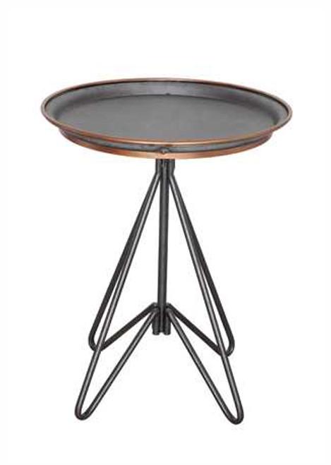 Metal Table, Zinc w/ Gold Detail