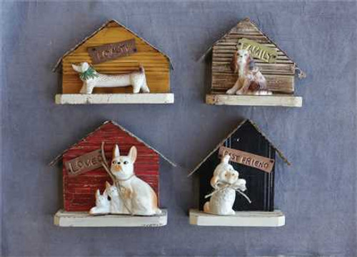 Metal and Wood Dog House with Ceramic Dog Décor 4 Styles
