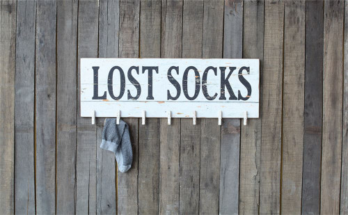 """Lost Socks"" Wall Decor w/ 7 Clothespins"