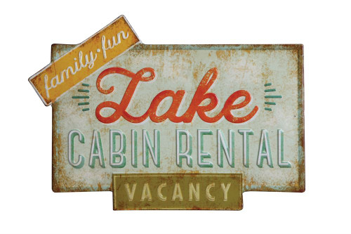 """Lake Cabin Rental"" Tin Wall Décor"