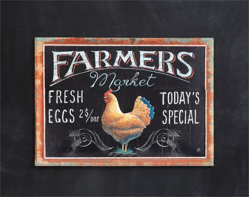 "Embossed Tin Wall Decor ""Farmers Market..."" w/ Rooster Image"