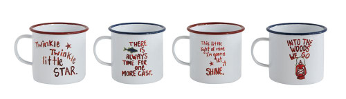 Enameled Tin Mug w/ Saying, White, 4 Styles